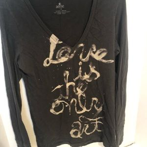Aerie Retro Love Is The Only Art  tee